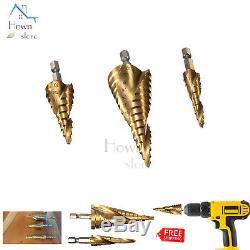 HSS Impact Ready Cone 2 Flute Spiral Step Drill Bit Set 3p