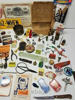 Junk Drawer Lot 85 Pieces Collectibles Smalls Toys Advertising Tins Pins Tools