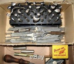 LARGE VTG CRAFTOOL LOT Leather Working Tools Saddle Stamp Punches, Blades, Mallet+