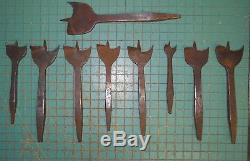 LOT OF 9 Antique / Vintage Paddle Bits 2TO 11/16 MOULSON BROS. MARK ON ONE