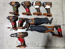 LOT of (8) broken Ridgid 18V tools impact, drill and reciprocating