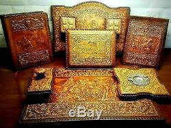 Leather Desk Set 7 Piece Vintage French Tooled Leather Amazing Quality