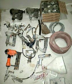 Lot 50 Air Tools 2 Hoses 2 roofing nail guns 2 finishing grease vacuum 30 rolls
