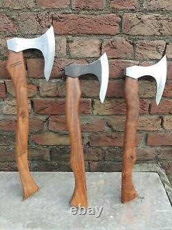 Lot Of 3 New Handmade High Carbon Steel Viking Axe Thrwoing Hetchet With Walnut