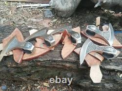 Lot Of 5 Hand Forged High Corbon Steel Axe Hetchet Head Throwing Axe Head7