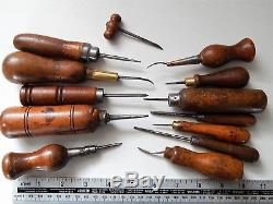 Lot of 13 Antique French Cobbler tools, Saddler, Leather, shoemaker, Collectible
