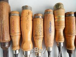 Lot of 16 Antiques/Vintage French Chisels and Gouges, Tools, Woodworking, Carpentry