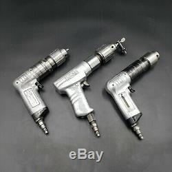 Lot of 3 Ingersoll Rand 3/8 & 1/2 Chucks Pneumatic Palm Drill Aircraft Tools