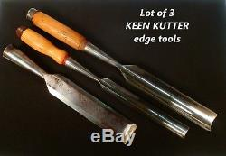 Lot of 3 Keen Kutter Edge Tools 2 Gouges & 1 Chisel to use or collect