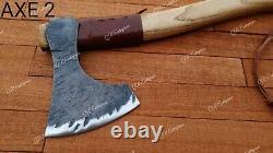 Lot of 4 Axes Tomahawk Axe Viking bearded hatchet Hunting Camping Axe