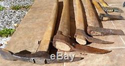 Lot of 6 antique forged tools 2 PICKAROON 3 AXE HATCHET 1 ARMY PICK AXE RARE OLD