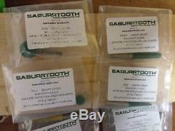 Lot wood Burs Saburrtooth 1/4 inch coarse green 4 bits round cylinder foredom