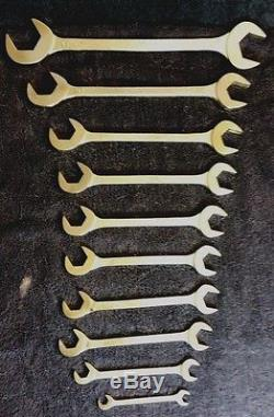 Mac Tools 10 Piece Angle Wrench Set Open End 4 Way Sae 3/8 -1 1/2 Made In USA