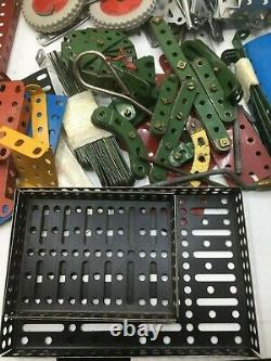 MECCANO ERECTOR Set Huge Lot of 200+ Vintage Plates Screws Tools Wheels Rails