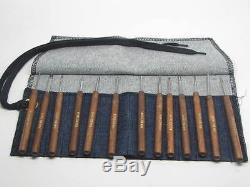 Micro Woodcarving Tools Mini RAMELSON USA with Denim Pouch Similar to Dockyard