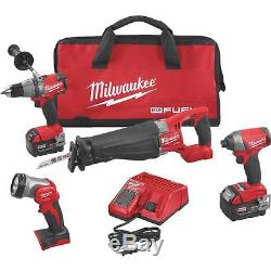 Milwaukee M18 FUEL Brushless Lithium-Ion 4-Tool Cordless Tool Combo Kit