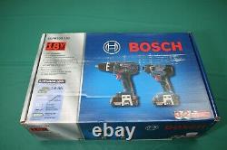 New Bosch CLPK232-181 18V 2-Tool Combo Kit Drill & Impact Driver NOS #455