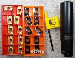 New Kennametal 1 Diameter Indexable Insert End Mill 1 Dia Shank and 20 Inserts
