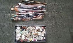 Oil Paints Acrylic Paints Paint Brushes Palette Knives Large lot of Art Tools