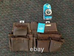 Ox Tools 4 Piece Leather Tool Belt Construction Rig & 35' Tape Measure