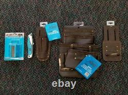 Ox Tools Oil Tanned Leather Tool Belt Pouch Utility Bundle with 100 Blades