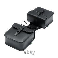 Pair Universal Motorcycle Saddle Tool Bag Side Pannier Luggage Bags PU //