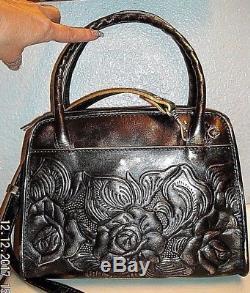 Patricia Nash Metallic Rose Hand Tooled Purse + Dust Bag Retail $169