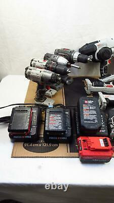 Porter Cable Lot of 11 Battery Operated Power Tool Set, 4 Batteries & 3 Chargers