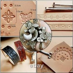 Practical Leather Craft Sewing Punch Tool Kit Cutter Carving For Beginner 60 psc