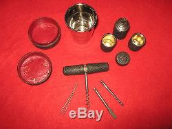 Rare 1900-20 Trio Of Shagreen Travelling Items, Folding Cup, Condiment Set, Tools