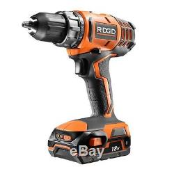 RIDGID 18-Volt Lithium-Ion 1/2 inch Cordless Compact Drill Driver Kit Powerful
