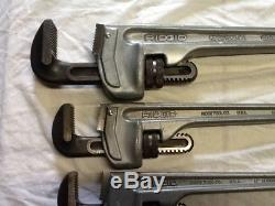 RIDGID Aluminum Straight Pipe Wrench Set 10, 12, 14, 18 Free Ship! Lot of 4