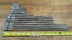SNAP ON 1/4 dr hand tool lot 16 Extensions poor condition Made in USA TMXK TMXW