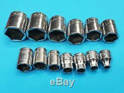 SNAP ON 3/8 dr. SAE Socket Lot 13 Pieces 6 pt- FREE SHIPPING 1/4 thru 1