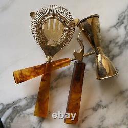 Set/3 Vintage Gold Plated Lucite Handled Bar Tools Strainer, Opener & Jigger