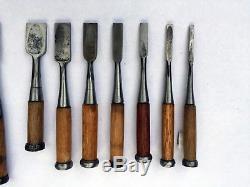 Set of 21 Japanese Wood Chisels, Carving Tools, Timber Framing Vintage Nomi