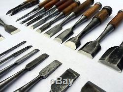 Set of 25 Japanese Wood Chisels Assorted Sizes Bench & Timber Vintage Nomi