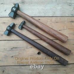 Set of 3 Black Iron Hammer Blacksmith Wooden Handle Heavy Duty