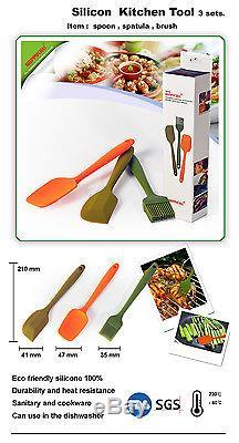 Silicone spatula spoon brush 3pcs wholesale lots tools free shipping dozen