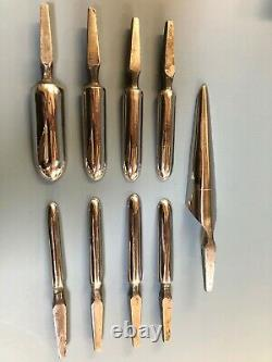 Spoon Drill Bits 8 bits and a tapered reamer