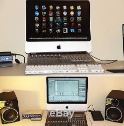 Studio iMac, Speakers, Mixer, MBox with Pro Tools, Waves, iZotope, Adobe, Logic