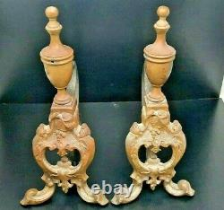 Stunning Pair Of Ornate Brass Fire Dogs ANDIRONS, Fireplace Tools Rest