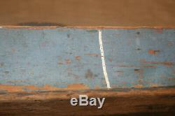 Super Old Blue Paint Country Folk Art Wooden Tool Carrier Inv#JA01
