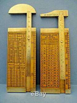 TWO EARLY VINTAGE RABONE BRASS & BOXWOOD ROPE RULES. W. GIERTEN BERGEN No1206
