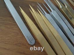 Tweezers Dumont, Bergeon 12pce brass, stee, Titan, Teflon 4,5,1AM 6571-CFR-5, Ti