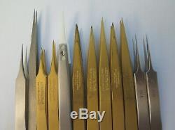 Tweezers Dumont, Bergeon 12pce brass, stee, Titan, Teflon 4,5,2am 6571-CFR-5, Ti