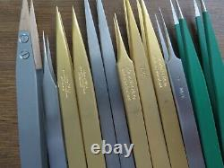 Tweezers Dumont, Bergeon 12pce brass, steel, Titan, 4,3,1AM, Ti, 2AM, 10004-WA1-SM