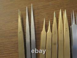 Tweezers Dumont, Bergeon 12pce brass, steel, Titan, 4,5,1AM, Ti