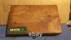 VINTAGE IRWIN 14 Piece AUGER Drill Bit Tool SET Wooden (Oak) Box Made in USA