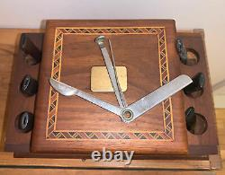 VINTAGE Wooden 6 ESTATE Smoking Pipe Holder Storage Case & Yellow Bole Pipe Tool